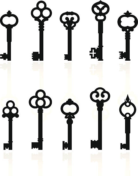 Royalty free skeleton key clip art vector images for Art with old keys