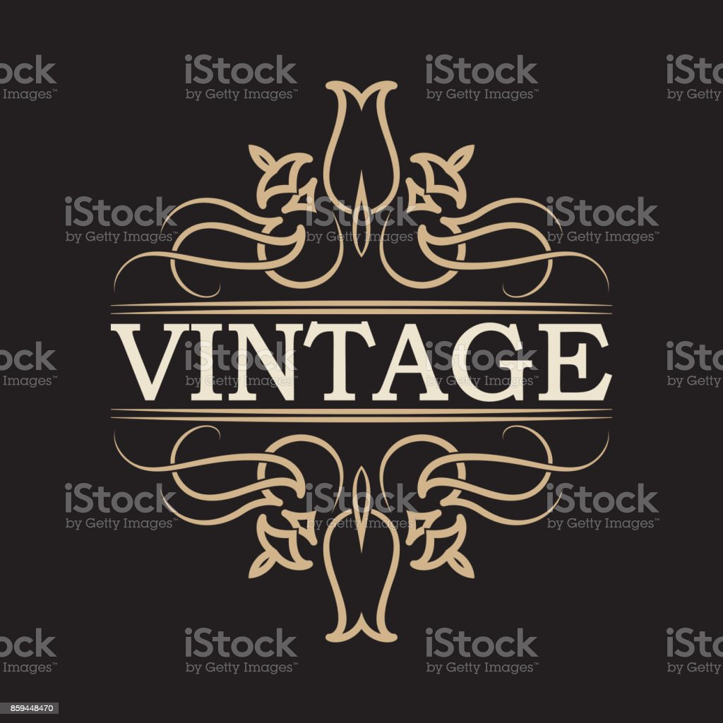 antique label vintage frame design typography retro logo template
