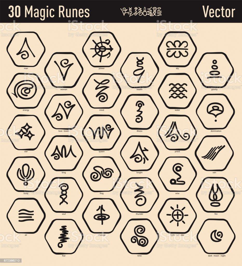 Antique Magic Runes Stock Vector Art More Images Of Alphabet