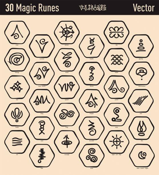 antike magie runen - geistergeschichten stock-grafiken, -clipart, -cartoons und -symbole