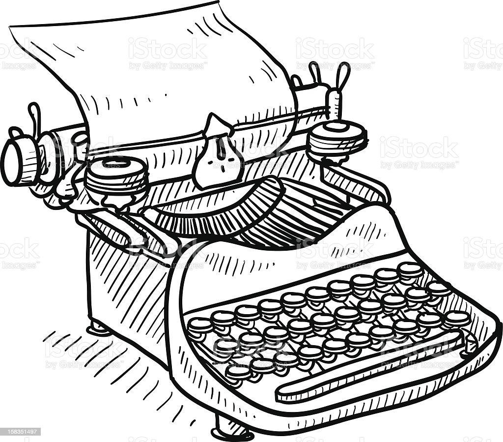 Antigo Desenho De Maquina De Escrever Manual Arte Vetorial De