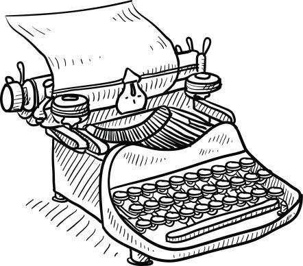 Antique manual typewriter sketch