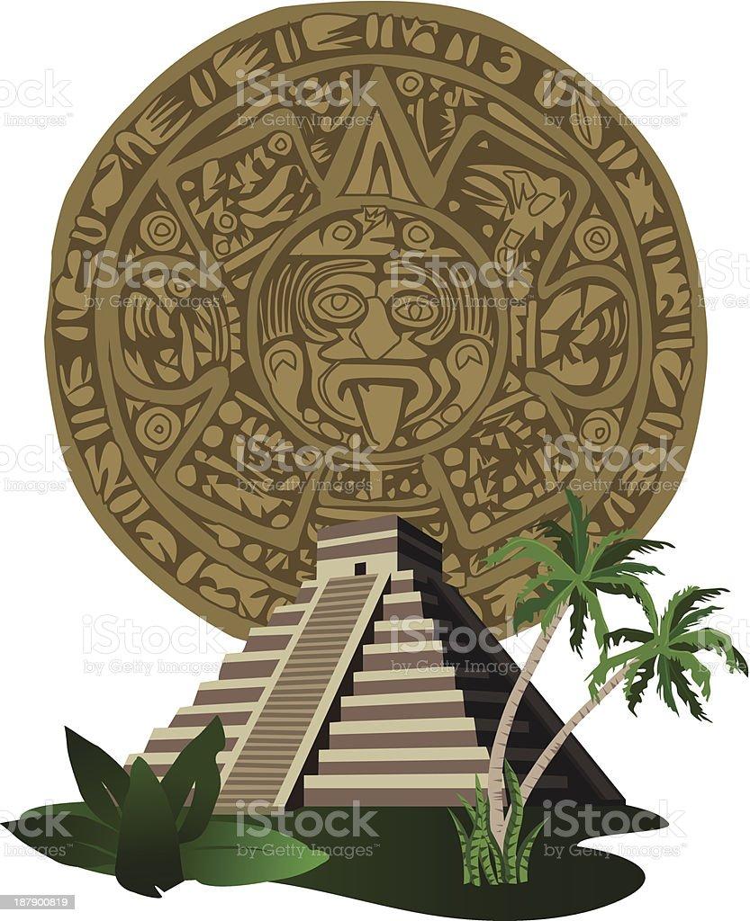 Antique Mayan Pyramid and Calendar vector art illustration