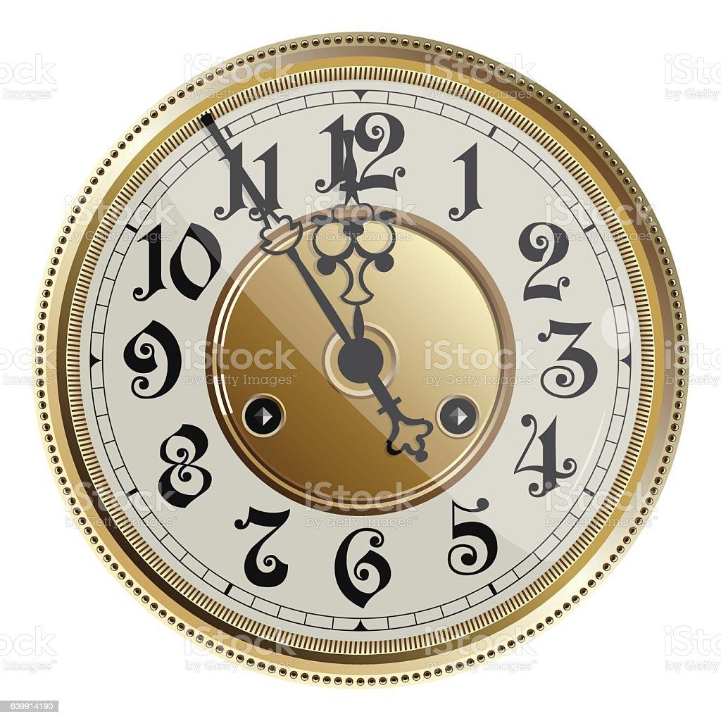 Antique old clock face. Vector illustration. vector art illustration
