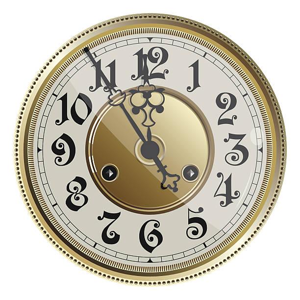 Antique Old Clock Face Vector Illustration Art