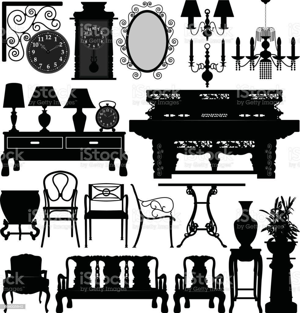 Ilustración de Muebles Antiguos Antiguos Para Casas Tradicionales En ...