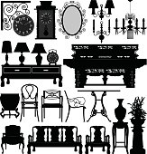 Antique Old Furnitures for Traditional Homes in Silhouette Vector
