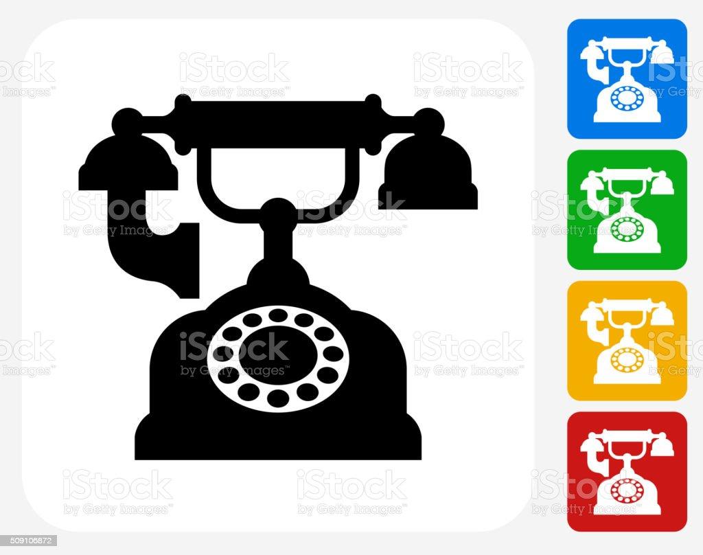 Antique Phone Icon Flat Graphic Design vector art illustration
