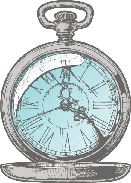 Antique pocket watch. vector art illustration