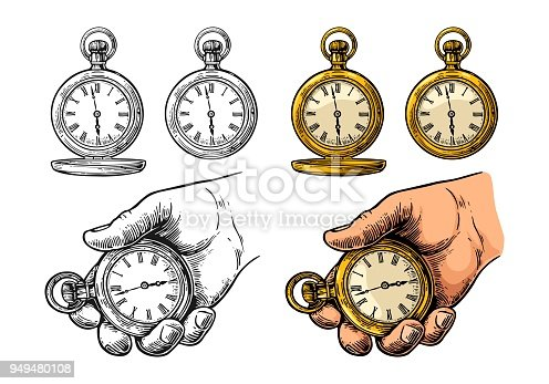 Male hand holding antique metal pocket watch. Vector vintage color engraving illustration. Isolated on white background. Hand drawn design element for label and poster