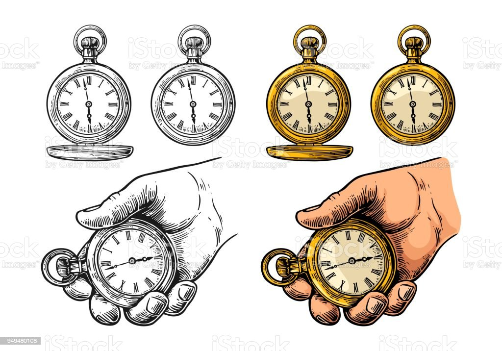 Antique pocket watch. Vector vintage color engraving isolated on white vector art illustration