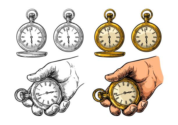 antique pocket watch. vector vintage color engraving isolated on white - антиквариат stock illustrations