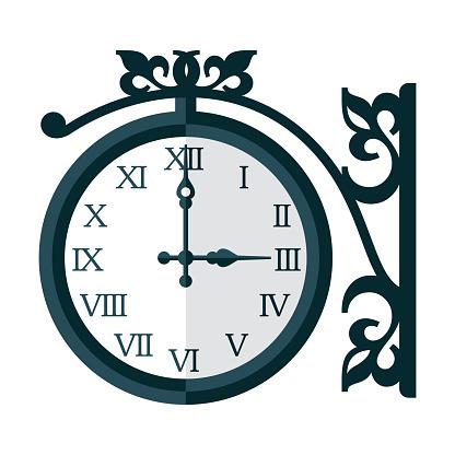 Antique Railway Clock Icon on Transparent Background