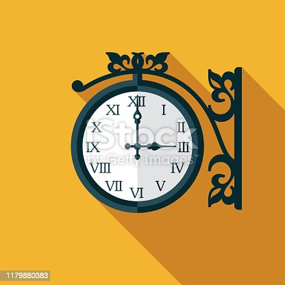 A flat design clock icon with a long shadow. File is built in the CMYK color space for optimal printing. Color swatches are global so it's easy to change colors across the document.