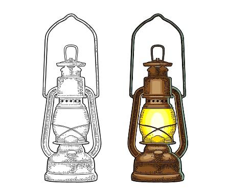 Antique retro gas lamp. Vintage color engraving illustration