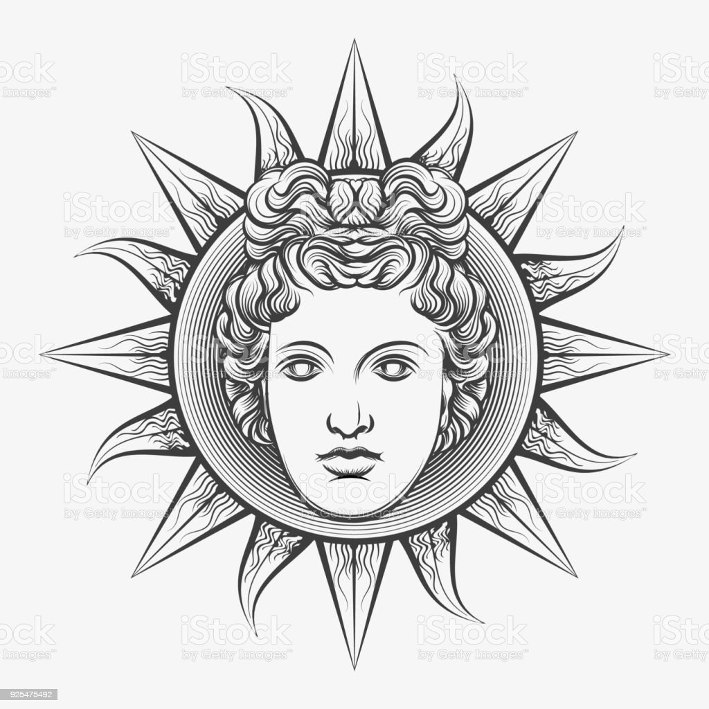 Antique roman apollo sun face vector art illustration