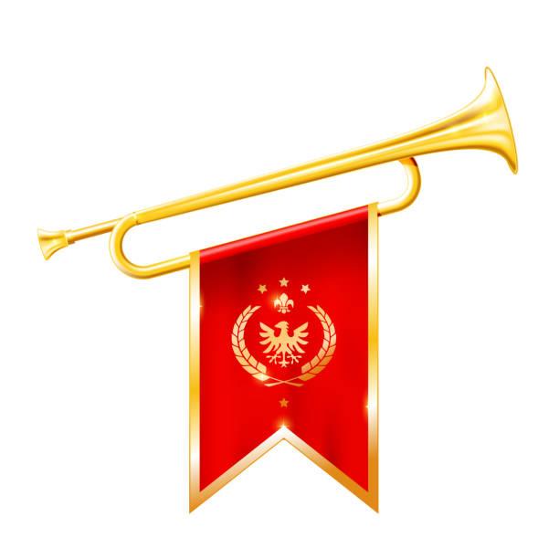 antikes königshorn - trompete mit triumphierender flagge, triumphkonzept - fanfare stock-grafiken, -clipart, -cartoons und -symbole
