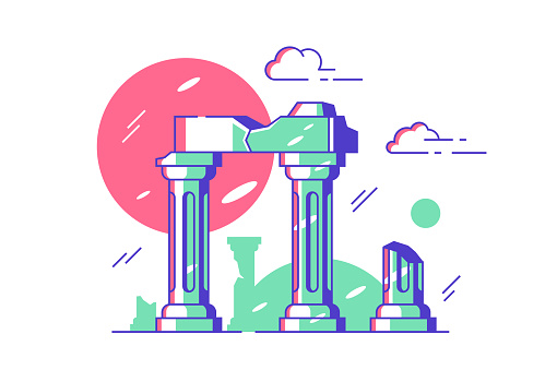 Antique ruined columns of old city vector illustration. Marble stone broken on pieces flat style. Palace ruins fragment. Ancient ruins, touristic attraction concept. Isolated on white background