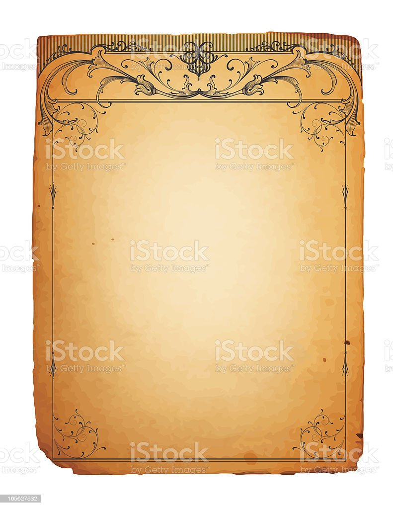 Antique Scrollwork Stationery royalty-free stock vector art