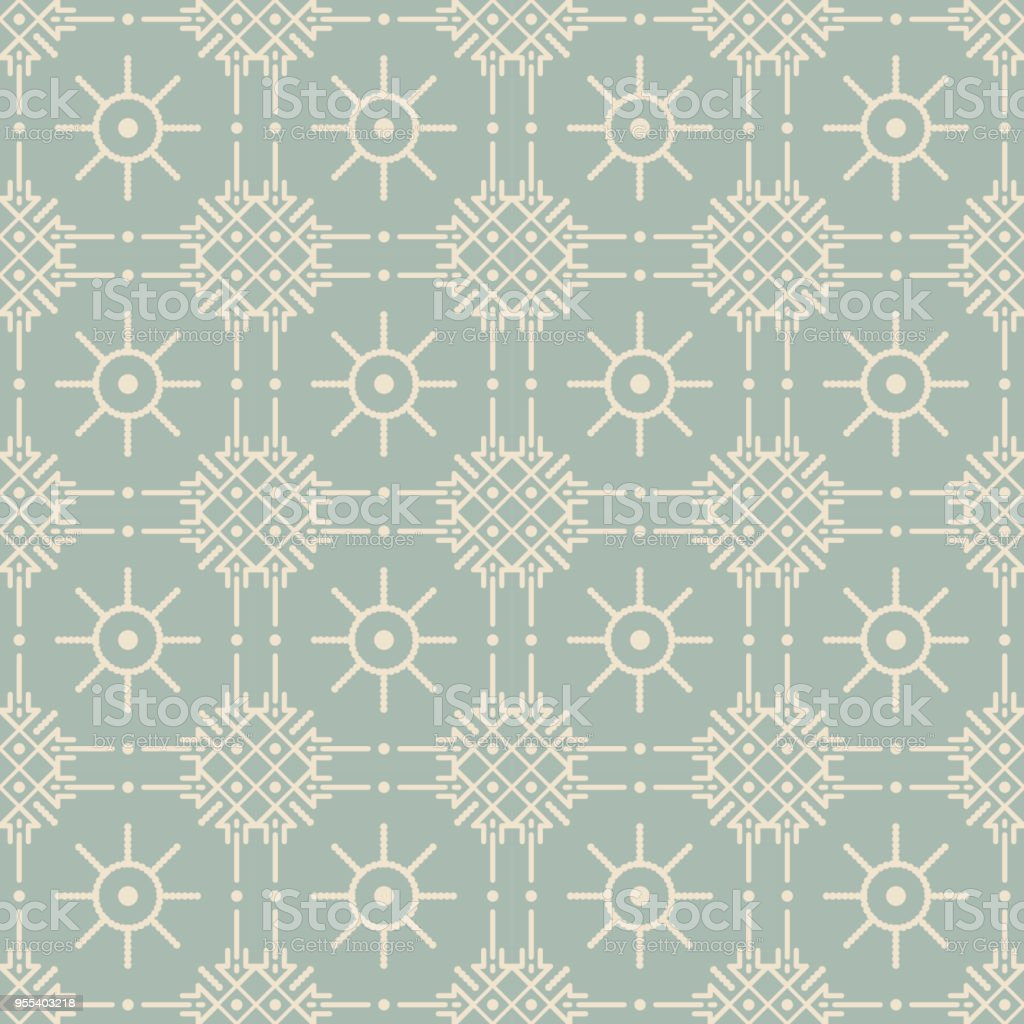 Antique seamless background Check Cross Round Dot Line Flower - Grafika wektorowa royalty-free (Adamaszek)