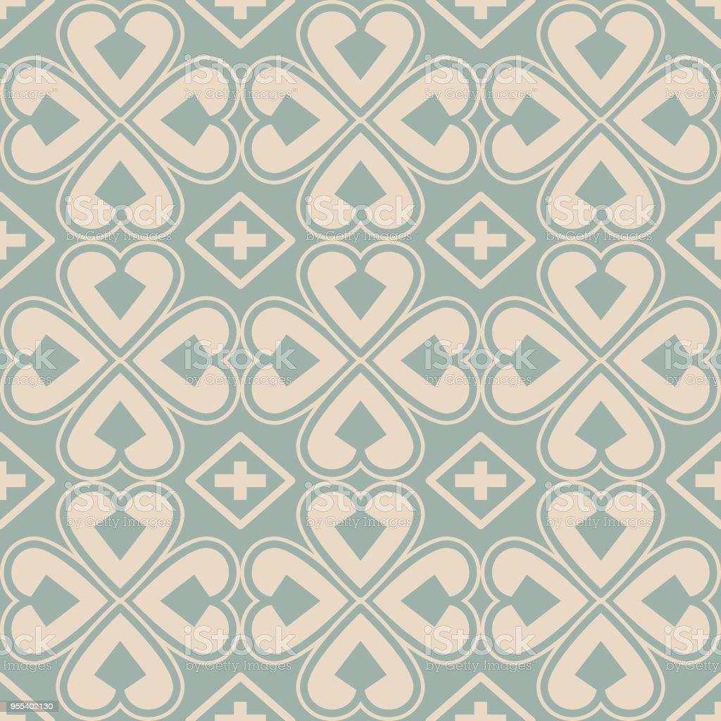 Antique seamless background Curve Heart Cross Clover Leaf - Grafika wektorowa royalty-free (Adamaszek)