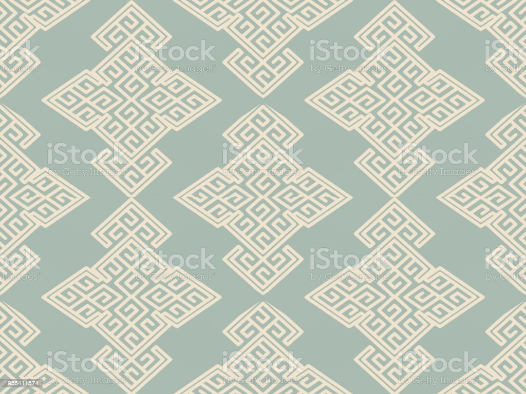 Antique seamless background Spiral Polygon Check Cross Frame Line - Grafika wektorowa royalty-free (Adamaszek)