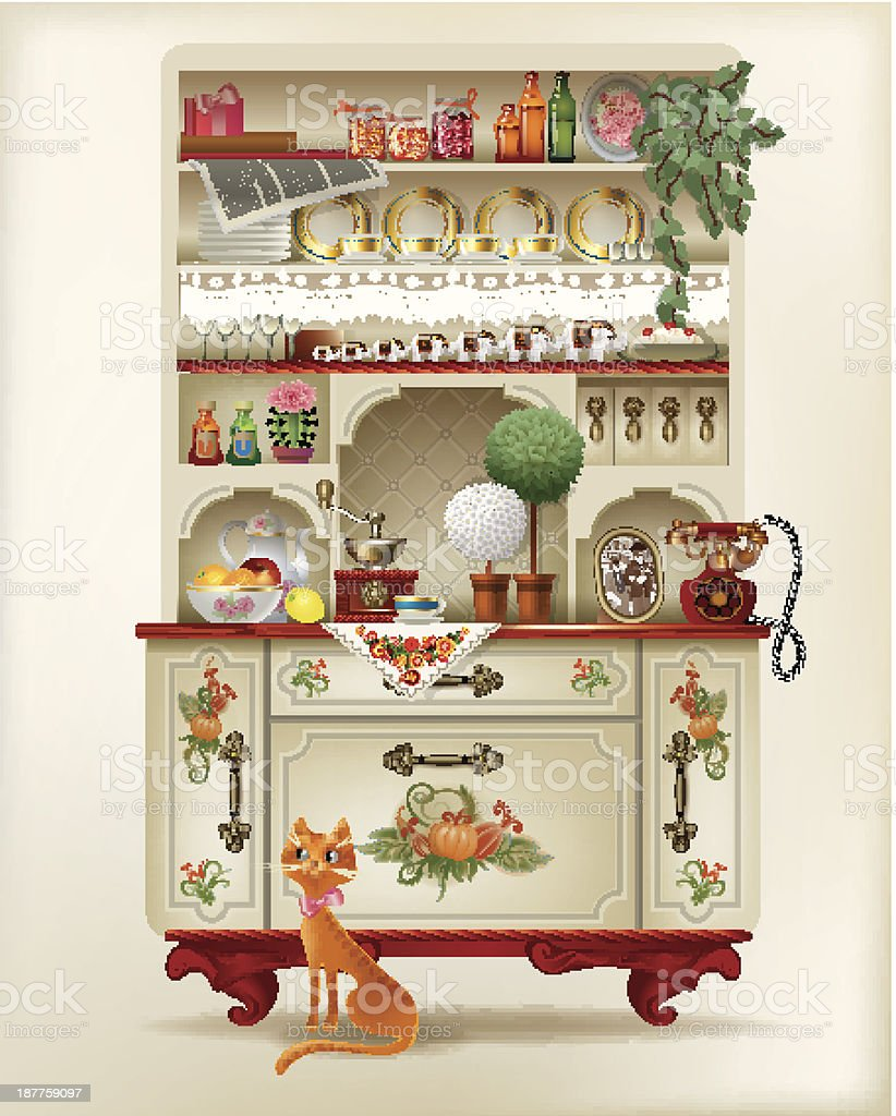 Antique sideboard with dishes and a red cat royalty-free stock vector art
