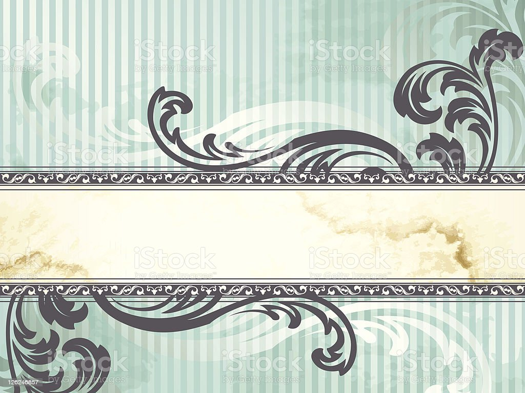 Antique style banner template with curlicues royalty-free stock vector art