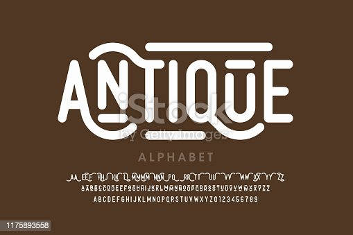 Antique style font, alphabet letters with alternates and numbers, vector illustration