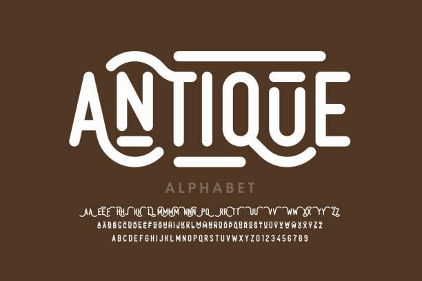 шрифт античного стиля - алфавит stock illustrations