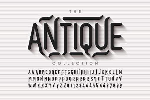 Antique style font design, vintage alphabet letters and numbers vector illustration