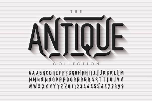 ilustraciones, imágenes clip art, dibujos animados e iconos de stock de fontation de estilo antiguo - font