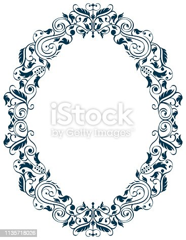 Vector Illustration of an Antique Style Oval Frame