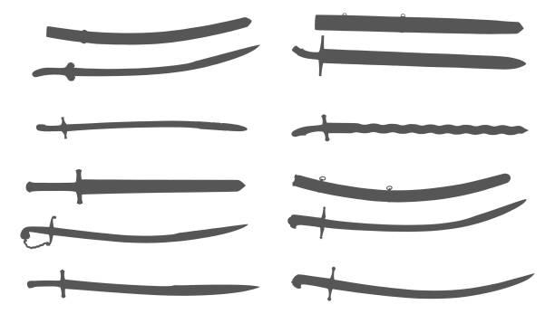 앤틱형 swords - sword stock illustrations