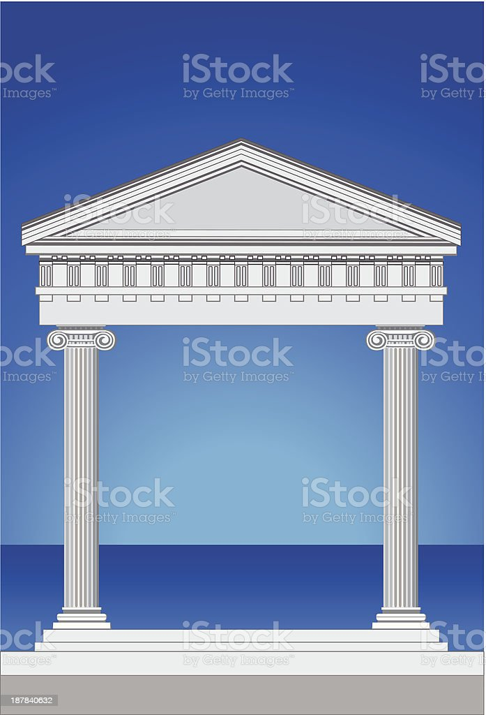 Antique Temple Facade vector art illustration