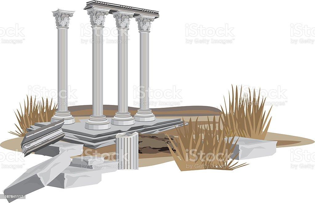 Antique Temple Ruins vector art illustration