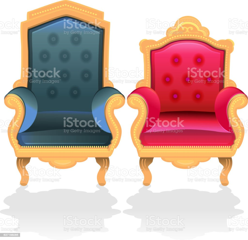Antique throne chairs for king and queen vector art illustration