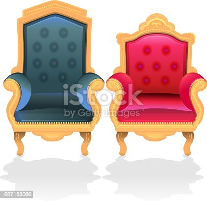 Antique Throne Chairs For King And Queen stock vector art 637188086 | iStock - Antique Throne Chairs For King And Queen Stock Vector Art