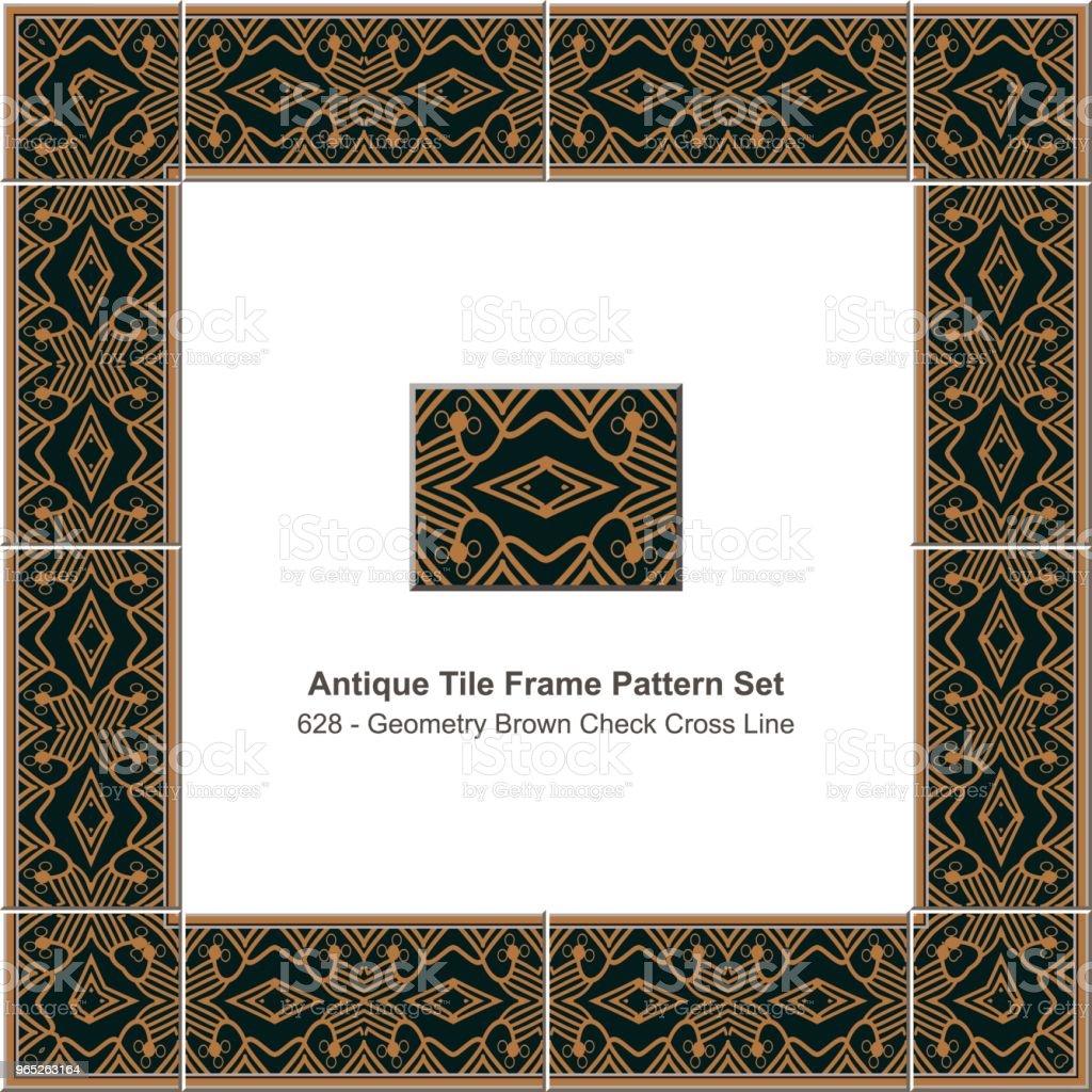 Antique tile frame pattern set aboriginal brown check cross geometry line antique tile frame pattern set aboriginal brown check cross geometry line - stockowe grafiki wektorowe i więcej obrazów antyczny royalty-free