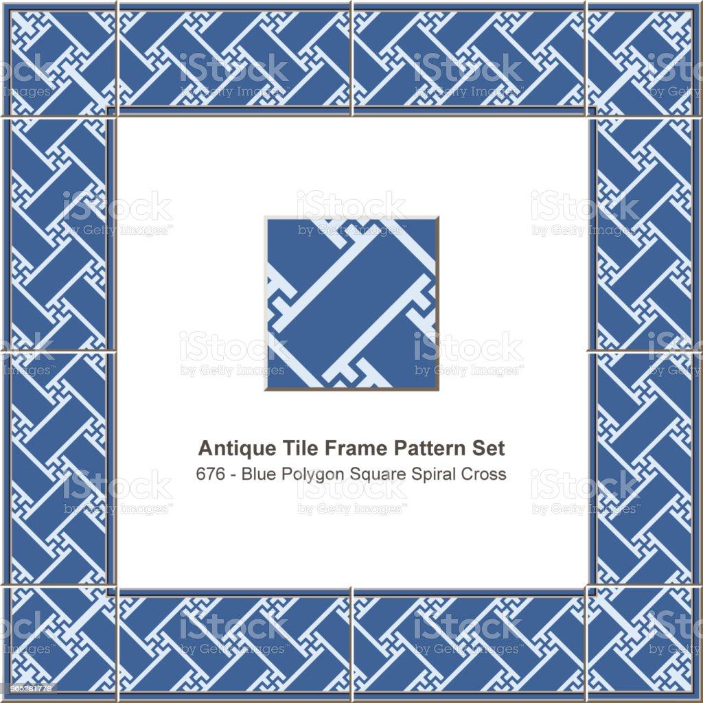 Antique tile frame pattern set blue polygon square spiral cross royalty-free antique tile frame pattern set blue polygon square spiral cross stock vector art & more images of antique