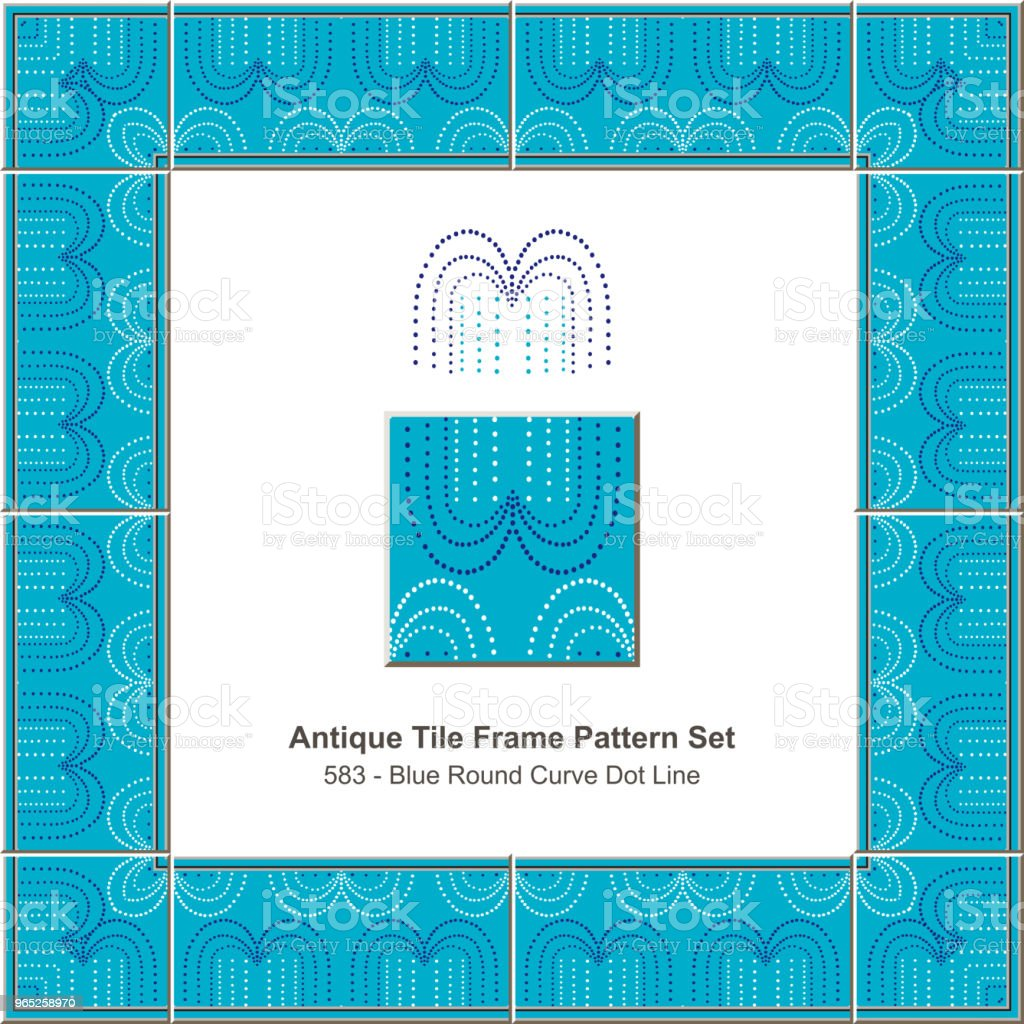 Antique tile frame pattern set blue round curve dot line royalty-free antique tile frame pattern set blue round curve dot line stock vector art & more images of antique