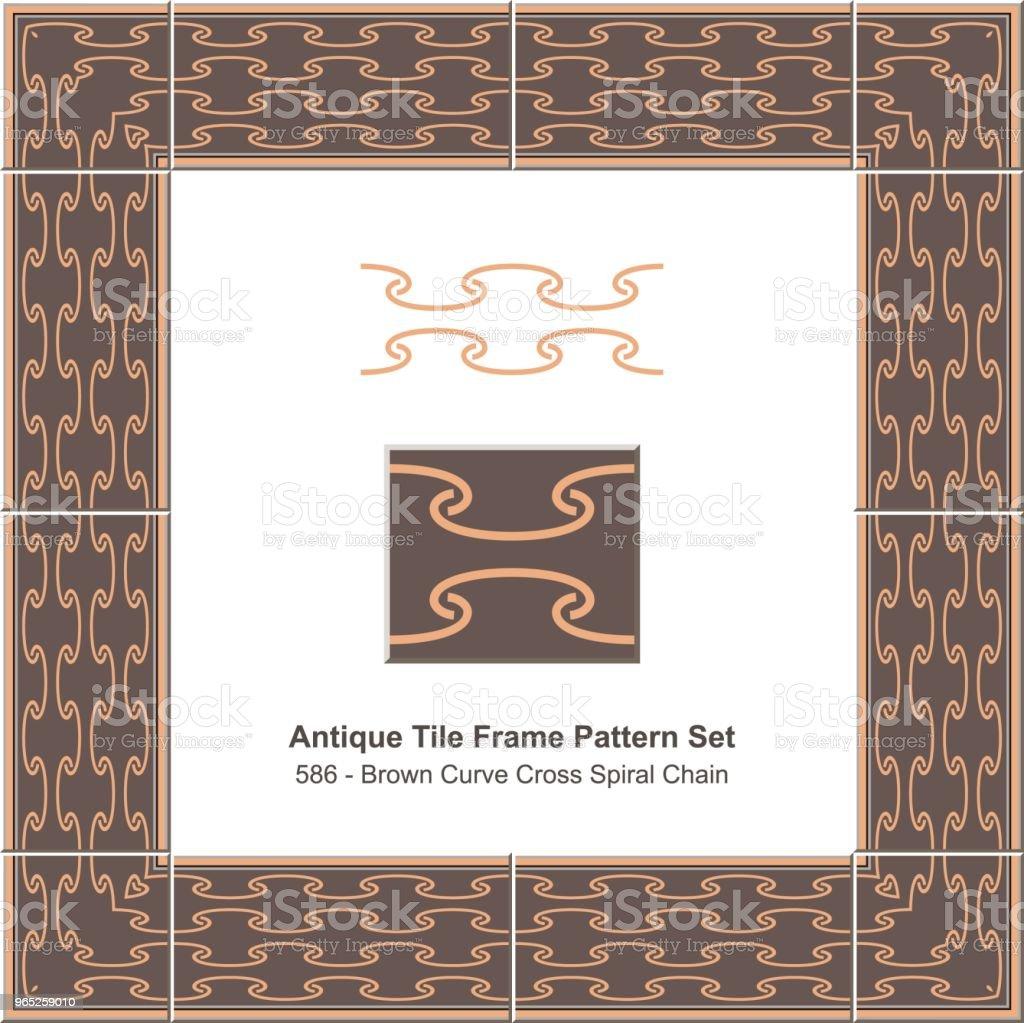 Antique tile frame pattern set brown curve cross spiral chain royalty-free antique tile frame pattern set brown curve cross spiral chain stock vector art & more images of antique