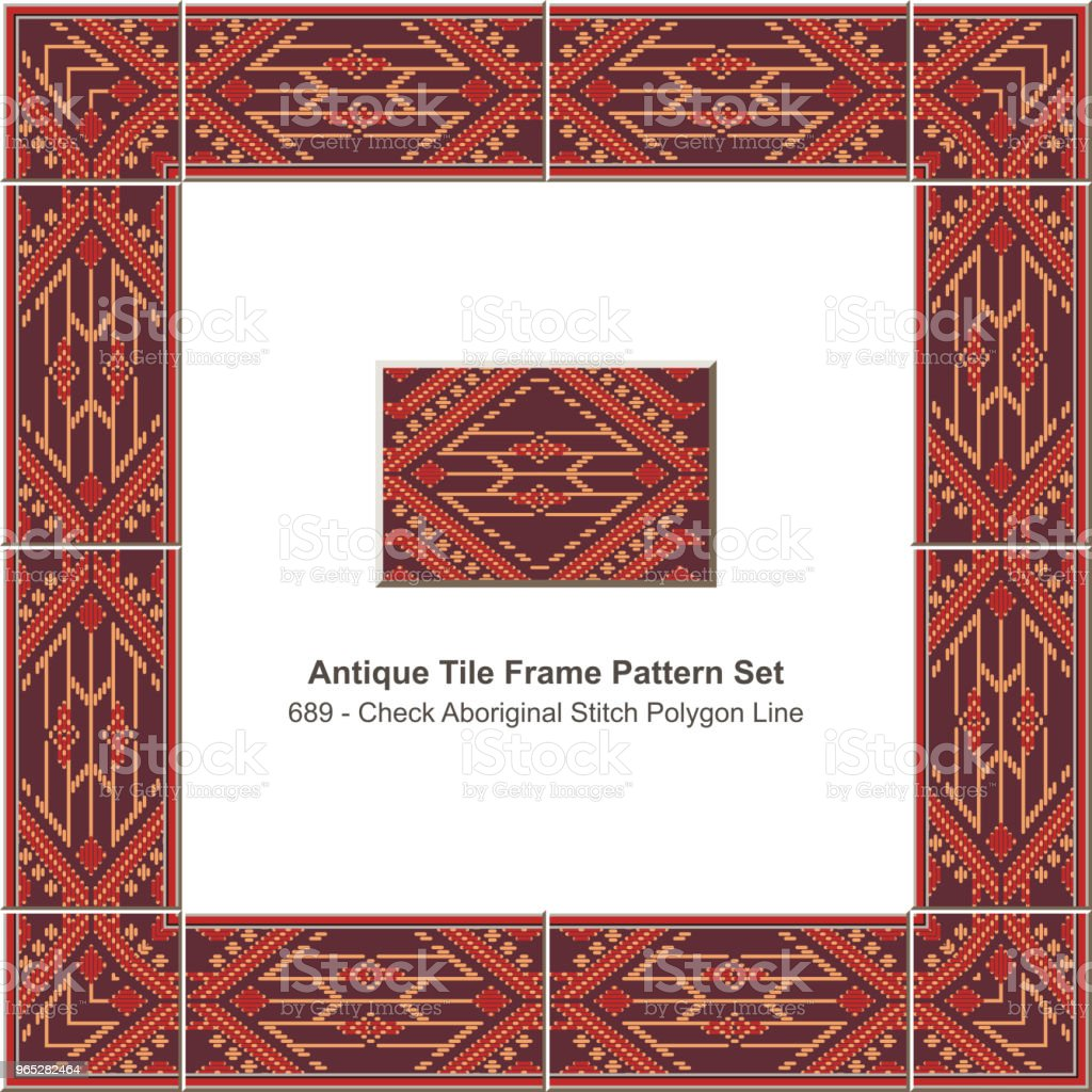 Antique tile frame pattern set check aboriginal stitch polygon line royalty-free antique tile frame pattern set check aboriginal stitch polygon line stock vector art & more images of antique