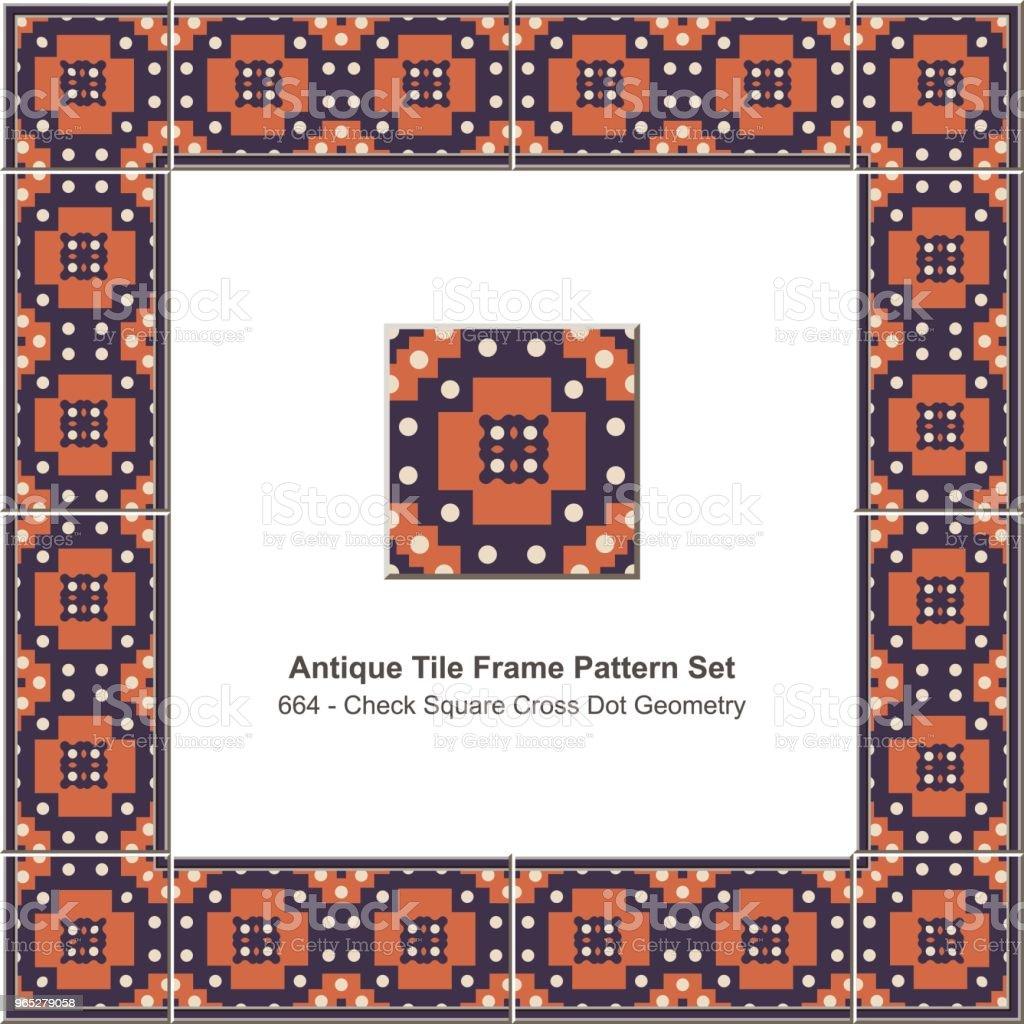 Antique tile frame pattern set check square cross dot geometry royalty-free antique tile frame pattern set check square cross dot geometry stock illustration - download image now