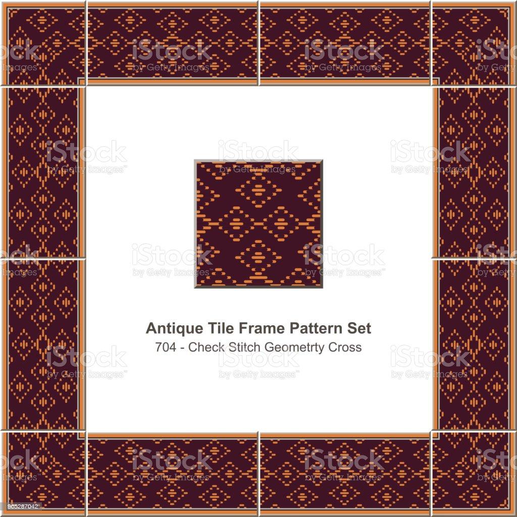 Antique tile frame pattern set check stitch geometry cross antique tile frame pattern set check stitch geometry cross - stockowe grafiki wektorowe i więcej obrazów antyczny royalty-free