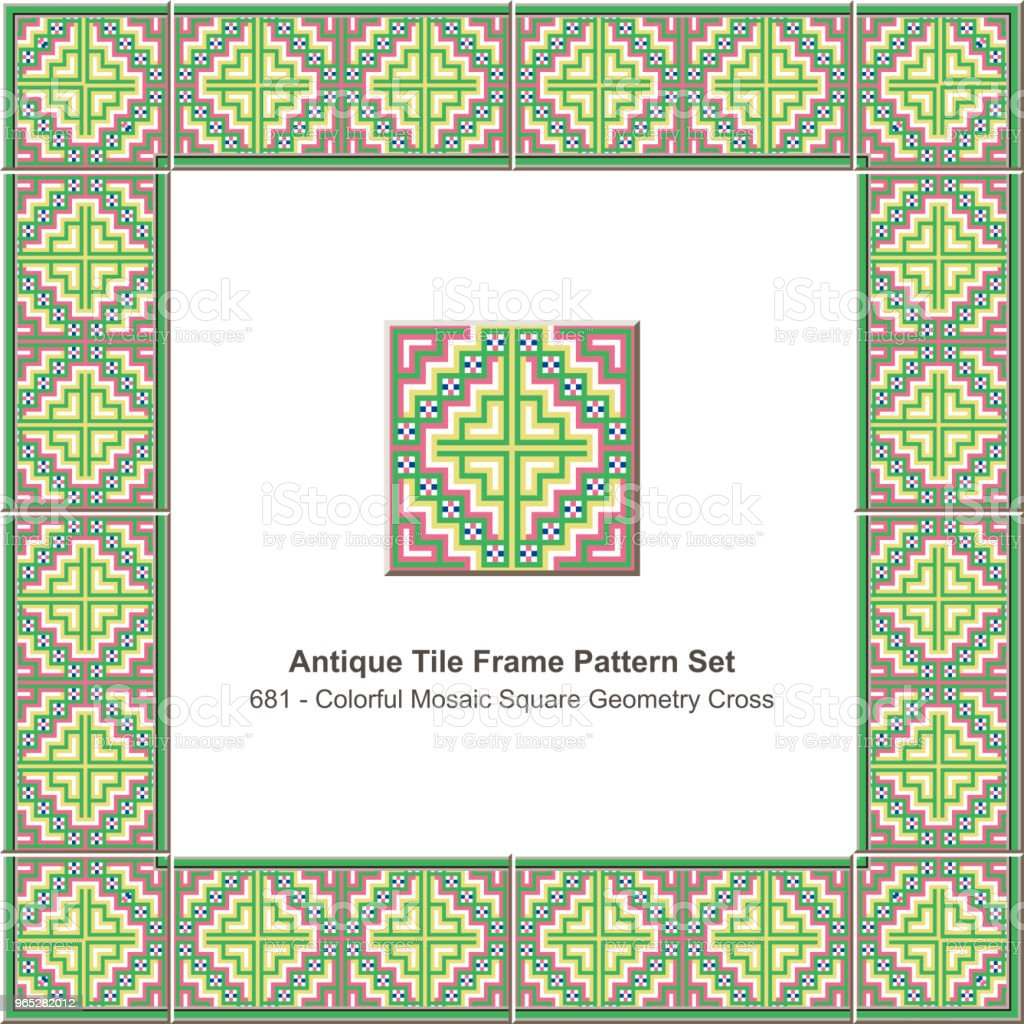 Antique tile frame pattern set colorful mosaic pixel square geometry cross royalty-free antique tile frame pattern set colorful mosaic pixel square geometry cross stock vector art & more images of antique