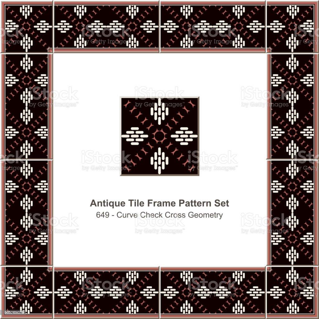 Antique tile frame pattern set curve check cross geometry antique tile frame pattern set curve check cross geometry - stockowe grafiki wektorowe i więcej obrazów antyczny royalty-free