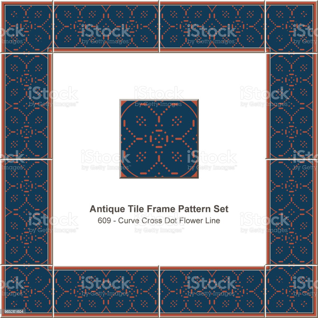 Antique tile frame pattern set curve cross dot flower line royalty-free antique tile frame pattern set curve cross dot flower line stock vector art & more images of antique