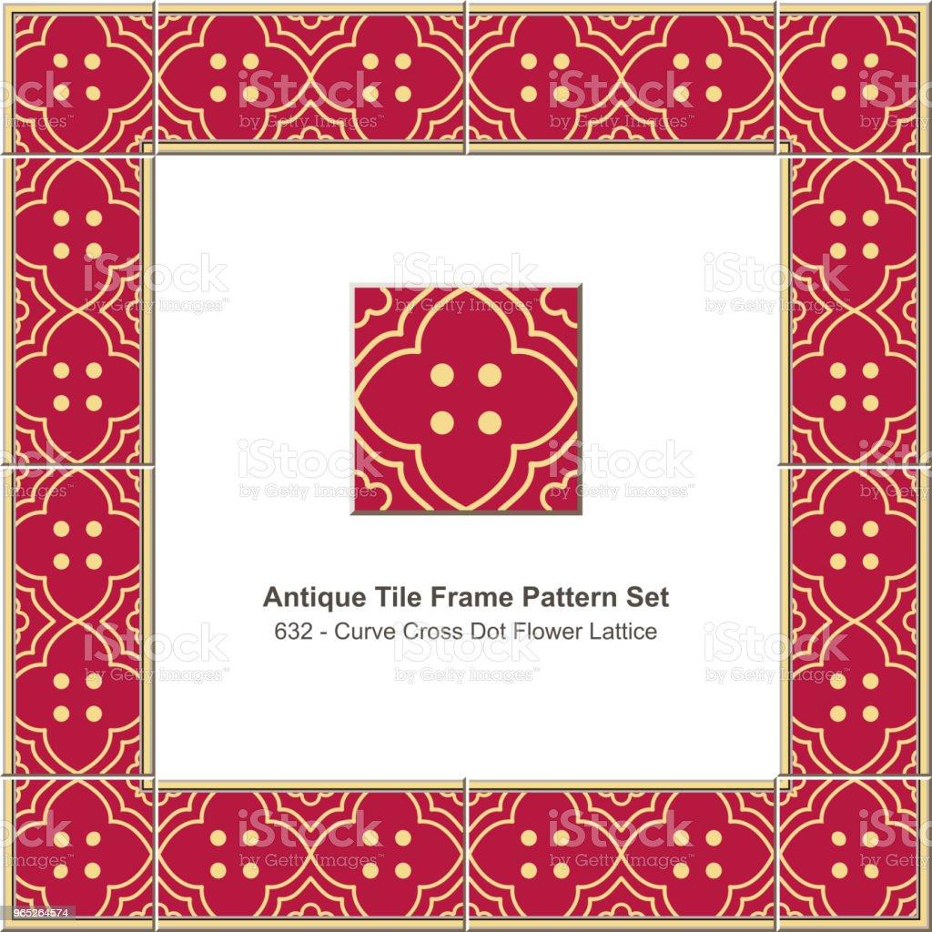 Antique tile frame pattern set curve cross flower dot lattice royalty-free antique tile frame pattern set curve cross flower dot lattice stock illustration - download image now