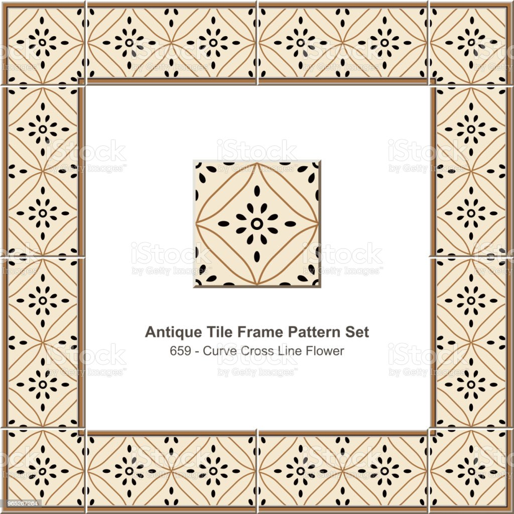 Antique tile frame pattern set curve cross line flower antique tile frame pattern set curve cross line flower - stockowe grafiki wektorowe i więcej obrazów antyczny royalty-free